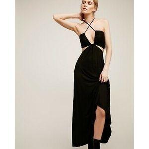 FP BEACH GRIFFIN CUTOUT BANDEAU HALTER MAXI DRESS